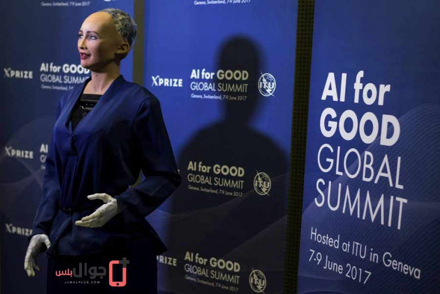 صورة للربوت صوفيا في مؤتمر جنيف
