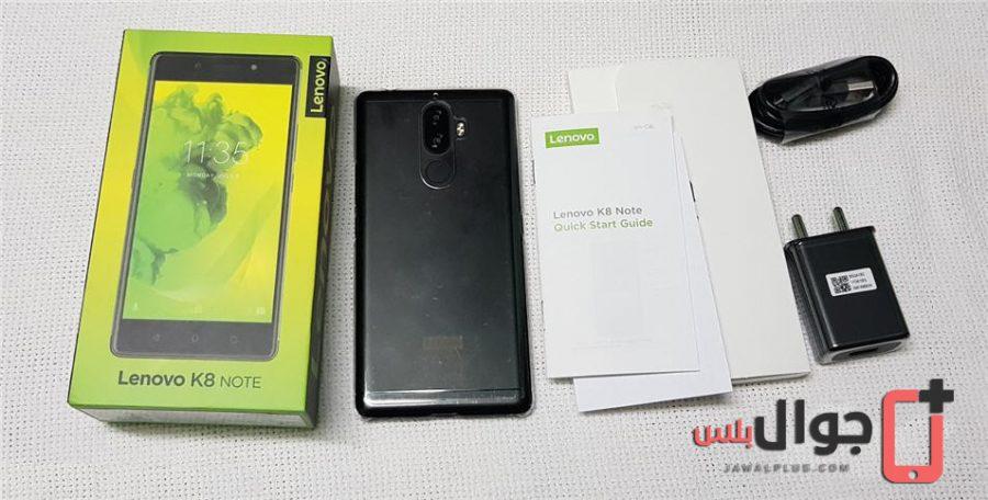 محتويات علبة موبايل Lenovo K8 Note