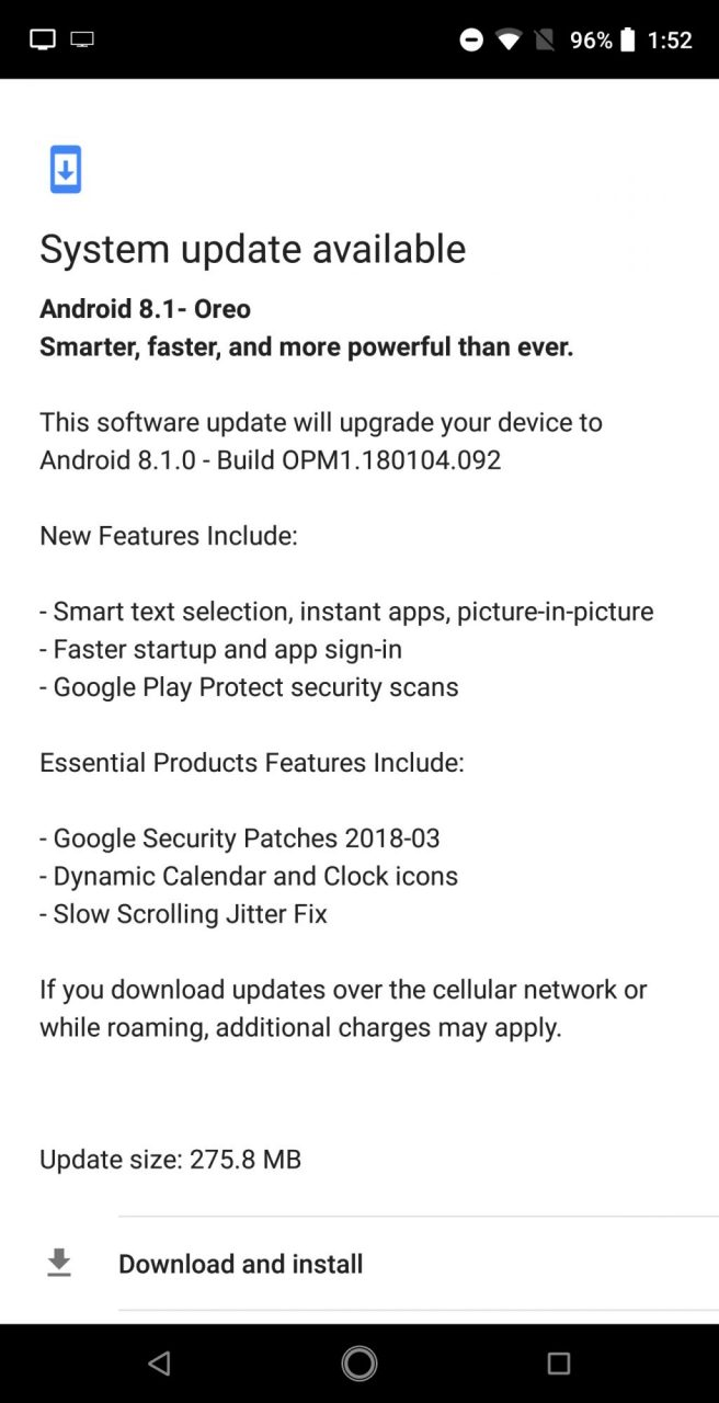 Essential يحصل على تحديث اندرويد اوريو 8.1