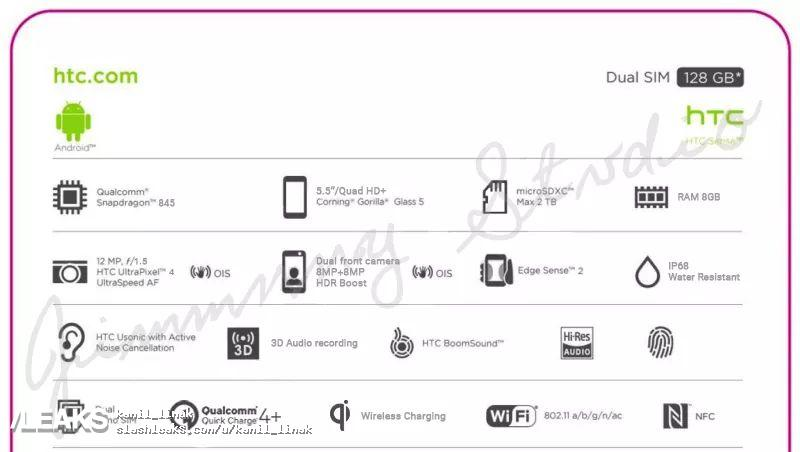 تسريب المواصفات التفصيلية لموبايل اتش تي سي U12 بلس - HTC U12 Plus