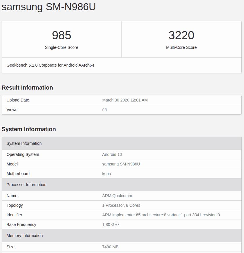 Samsung Galaxy Note 20+ Geekbench