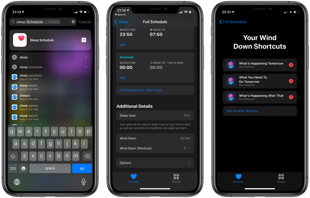 Sleep Mode and Wind Down shortcuts