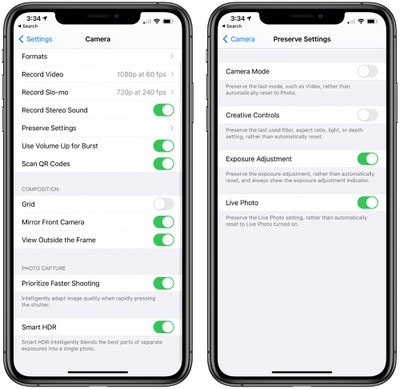 Volume Buttons as Camera Shortcuts in ios 14